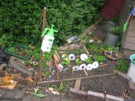 Een klein tuintje van een meisje van 13 jaar. Haar sla sjalotten en aardappelen kwamen al op.