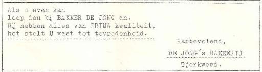 Adv Bakkerij de Jong