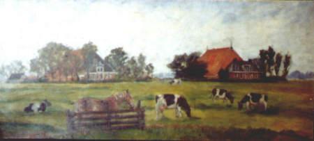 Schilderij, boerderijen Witteveen en Zijsling. gemaakt door Minke Dijkstra.