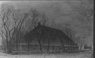 Potlood tekening van de boerderij Burghgraef op Jousterp