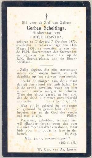 1936 - bidprentje Gerben Scheltinga-1-1