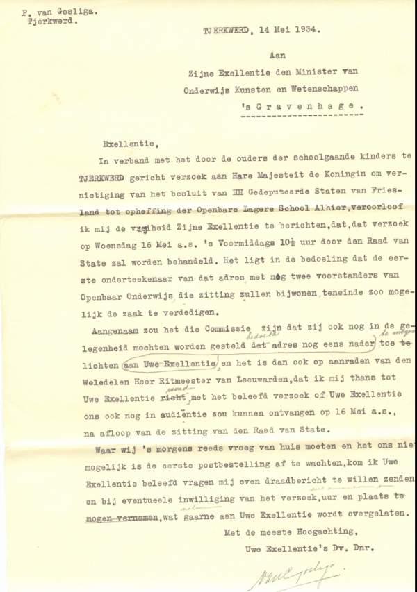 De brief aan de minister van Onderwijs: