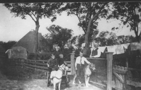 Hier nog een foto van Bonte de Boer, met zijn jongens met de bokkewagen.